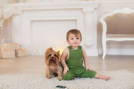 The boy sits on the carpet on the floor and next to him the dog toy Terrier.