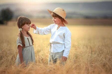 Zwei Kinder, ein Junge und ein Mädchen im Vorschulalter, gehen zusammen auf einem Weizenfeld. Standard-Bild