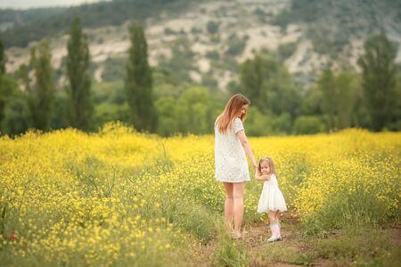 Glückliche Familie: Vater mit jungem Sohn und Mutter stehen Hand in Hand auf einer grünen Wiese vor dem Hintergrund von Nadelwald und Bergen. Rückansicht