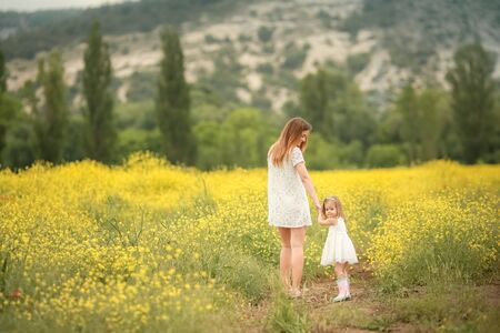 Happy family: father with young son and mother stand hand in hand on a green field against the background of coniferous forest and mountains. Back view Stock Photo