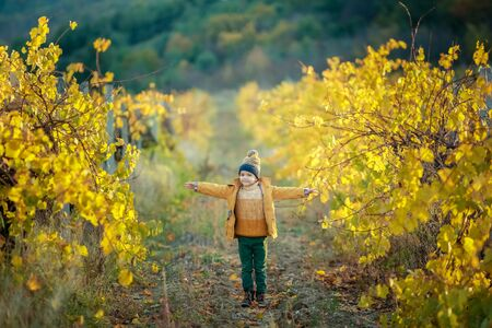 A boy runs and jumps in a garden with trees covered with yellow leaves. Фото со стока