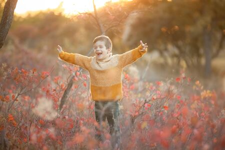 A child in a yellow sweater stands in a clearing with dry grass shouting and waving his hands.