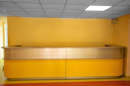 Concept model of the reception area. Reception Desk design in tons of yellow