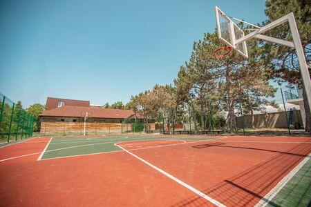 A basket ball with a modern coating. Sports basketball court from different angles without people