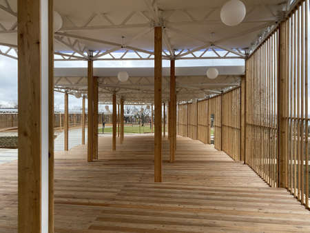 Public area for recreation made of wood built in a public park.