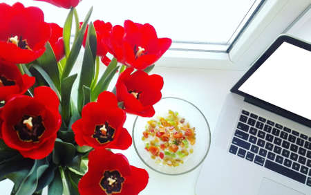 bouquet of red tulips in a vase near the laptop stand on a white window sill.