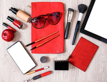 Cosmetic composition of accessories and groups of objects.