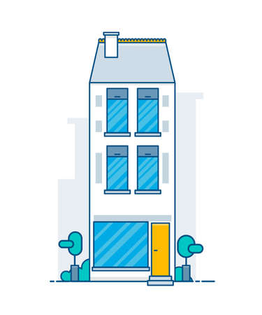 House building facade on white background vector illustration.