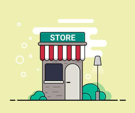 Exterior shop facade, vector illustration. Ilustração