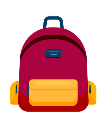 Backpack in a flat style. Vector illustration. School bag.Travel camping or hiking. Tourism. Luggage.