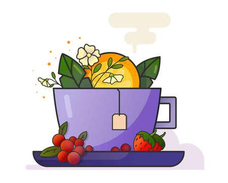 Cup of tea on white background. Strawberry, orange, cherry, jasmin. Flat illustration. Food. Drink. Green tea. Black tea. Icon fruits. Icon tea. Icon drink. Illustration