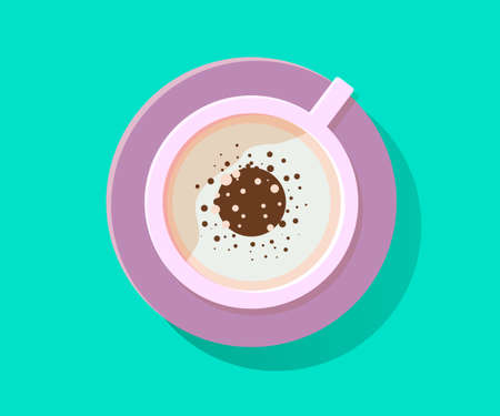 Cappucino illustration. Drink illustration. Capuccino cup of coffee. Brown drink for breakfast with cream. Aroma beverage with milk. Flat illustration.