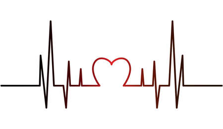 Heart pulse, one line - stock vector. Red and black gradient heart with palpitation. Çizim
