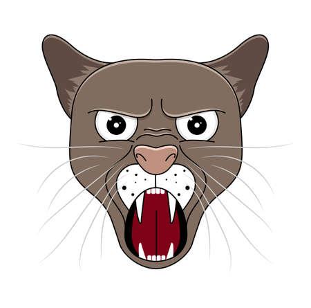 Head of puma in cartoon style. Vector illustration. Woodland animal head icon. Angry puma. Puma emotional head. Puma yells.