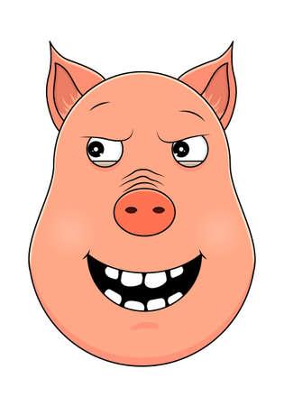Head of pig in cartoon style. Vector illustration. Woodland animal head icon. Malevolent pig. Pig emotional head.