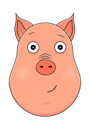 Head of pig in cartoon style. Vector illustration. Woodland animal head icon. Serene pig. Pig emotional head.