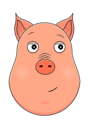 Head of pig in cartoon style. Vector illustration. Woodland animal head icon. Trusting the pig. Pig emotional head. Ilustração