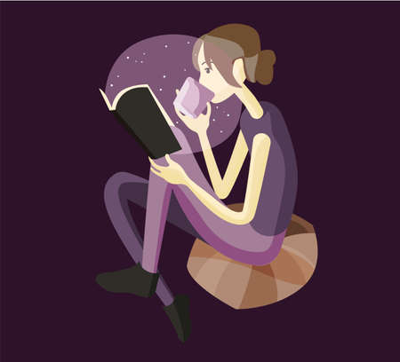 The girl is reading a book. Vector flat illustration. Ilustração Vetorial