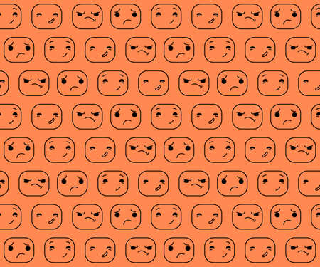 The pattern expression. Smilies pattern. Cartoon smiles. Cartoon characters vector illustration.