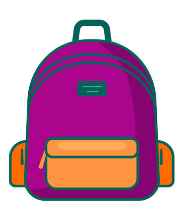 Backpack in a flat style. Vector illustration. School bag.Travel, camping or hiking. Tourism. Luggage