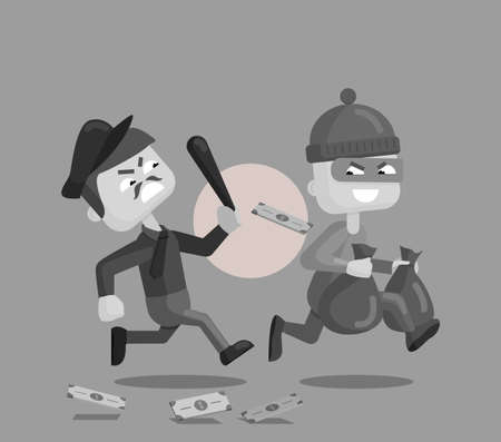 Vector cartoon illustration of a police officer chasing after and trying to catch a masked thief. Illustration in flat style.