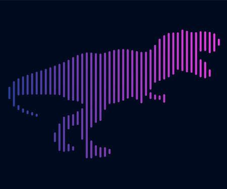 The linear illustration of a dinosaur. Logo