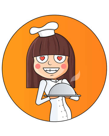 Cartoon girl holding a tray with a dish . chef woman in uniform. Outlined. Vector illustration.