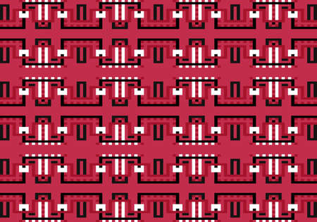 Vector geometric seamless pattern with colorful lines and squares.