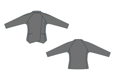 Vector illustration of jacket. Front and back views Illustration