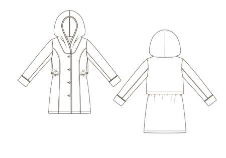 Vector illustration of topcoat. Front and back views