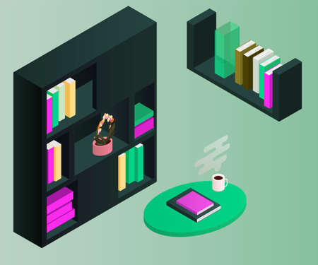 Isometric bookcase isolated on background. 3d shelves filled with books. Vector illustration