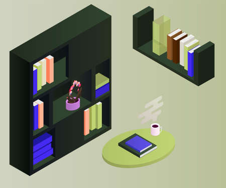Bookcase vector isometric concept vector illustration-vektorgrafik. Office cupboard with folders isometric. 矢量图像