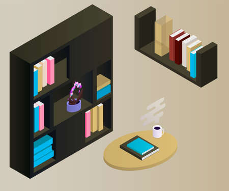 Bookcase vector isometric concept vector illustration-vektorgrafik. Office cupboard with folders isometric. Standard-Bild - 120076549