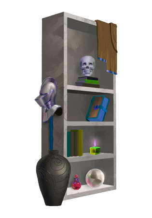 Witch cupboard with accessories, potion bottles, knightly helmet, crystal ball, scull and books.