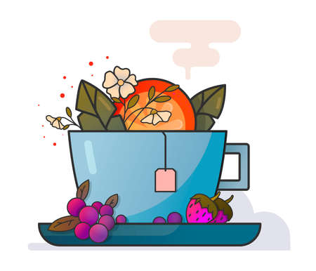 Cup of tea with fruits and flowers vector art illustration on white background. Strawberry, orange, cherry, jasmin. Flat illustration. Food. Drink. Green tea. Black tea. Icon fruits. Icon tea. Icon drink.