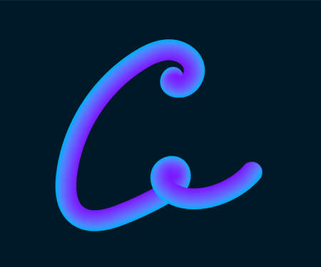 3D Vector tube of the letter C. Calligraphy vector illustration.