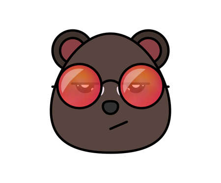 Isolated cute bear head on white background in cartoon flat style