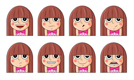 Set of female facial emotions. Cute girl emoji character with different expressions.