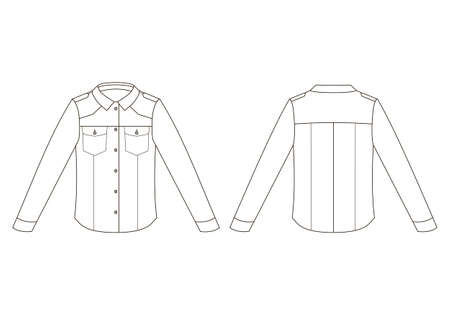 Vector illustration of jacket. Front and back views of jean jacket.