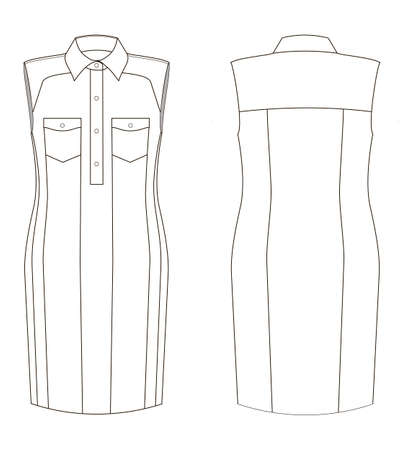 Vector illustration of denim dress. Front and back views of clothing.
