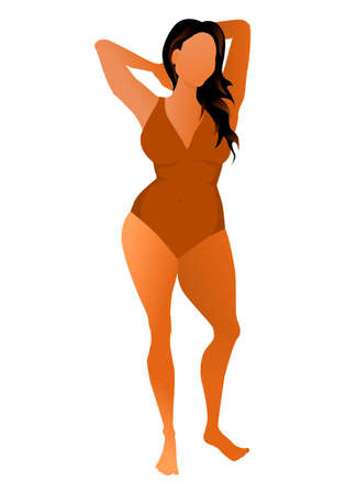 Cute tanned woman dressed in swimsuit. Vector illustration. Banque d'images - 129113592