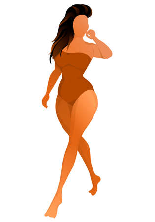 Cute tanned woman dressed in swimsuit. Vector illustration. Banque d'images - 129113632