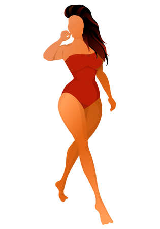 Cute tanned woman dressed in swimsuit. Vector illustration. Banque d'images - 129113628