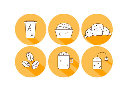 Set of linear coffee icons. Drinks icons  イラスト・ベクター素材