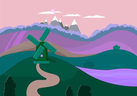 Nature landscape with windmill, agricultural fields, montains.