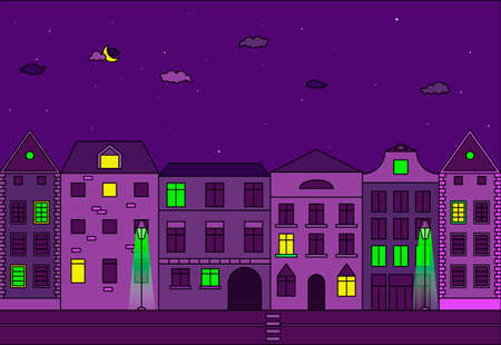 City at night vector illustration. Old street in european city.