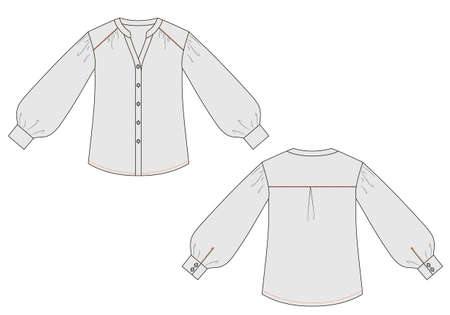 Fashion technical sketch of blouse with cuffs in vector graphic
