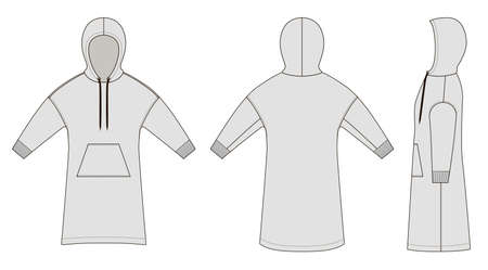 Vector illustration of long smock. Front and back views of clothing.
