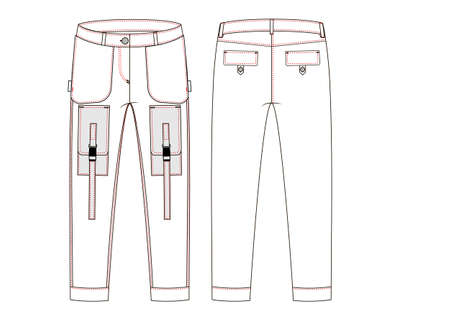 Cargo pants uniform  white background - Vektorgrafik. Work clothes. Technical sketch.