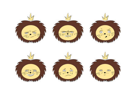 Lion icon set. Vector animal head. Expressions. Çizim